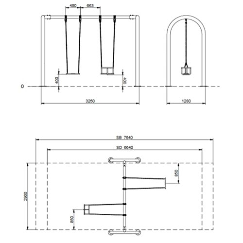 Doppelschaukel aus Metall mit Brettschaukel + Babysitz - 2