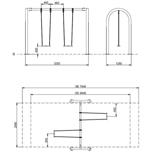 Doppelschaukel mit Brettschaukeln für öffentliche Spielplätze - 2